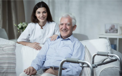 senior man with caregiver
